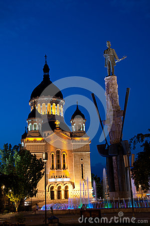 Avram Iancu monument and Orthodox Cathedral, Cluj- Editorial Stock Image
