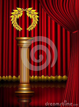 Award column with laurel wreath on theater stage