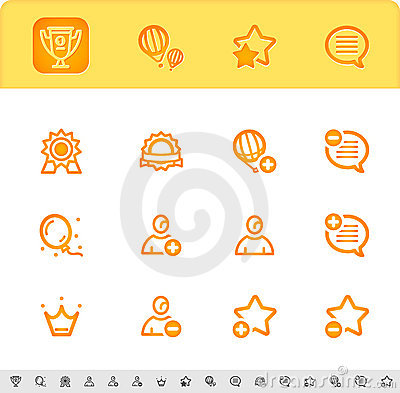 Award first place icons set