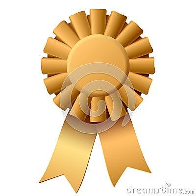 Vector illustration of a golden award ribbon.