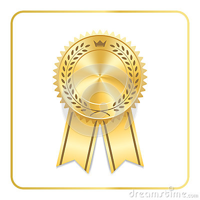 Award ribbon gold icon laurel wreath crown Vector Illustration