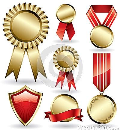 Award ribbons and medals