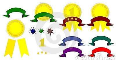 Award winning ribbons in a variety of colors