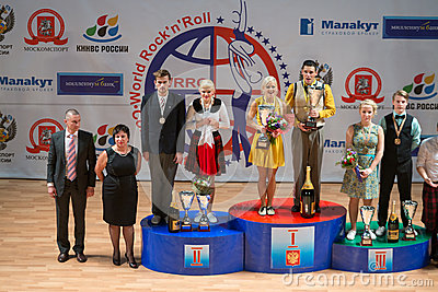 Awarding the participants of World championship on Acrobatic Rock n roll and the World Masters boogie-woogie Editorial Stock Image