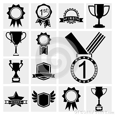 Awards icons black set.