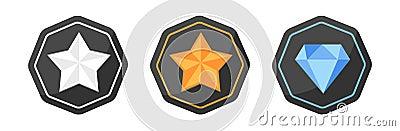 Awards Icons silver or platinum, gold, diamond