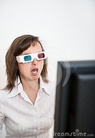 Awe - business person with 3d glasses
