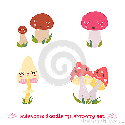 Awesome doodle mushrooms vector set