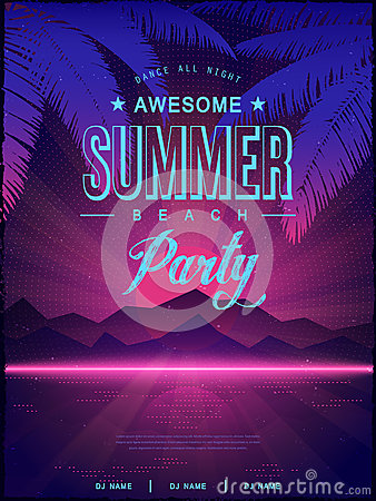 Awesome Summer Beach Party Poster Design Stock Vector ...