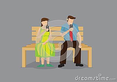 Awkward Boring First Date Vector Cartoon Illustration