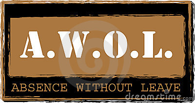 AWOL - Absence without leave stamp vector