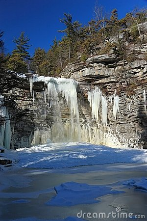 Awosting Falls Frozen Lake Vertical