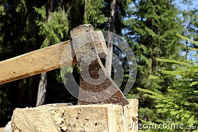 Ax chopping a stub