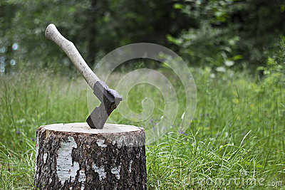 Axe and block