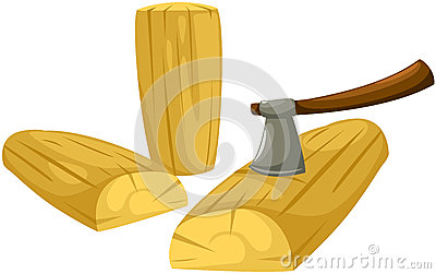 Axe with firewood