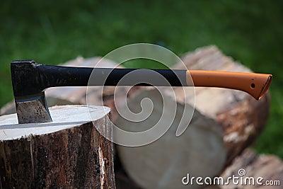 Axe in a log outdoors