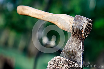 Axe In The Stump Royalty Free Stock Image - Image: 28804476