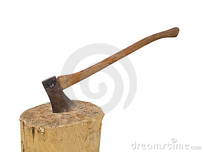 Axe in a stump chopping wood isolated