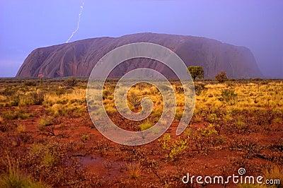 Ayers Rock, Uluru Lightning Strike, Rain Storm
