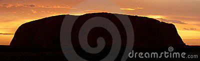 Ayers Rock (Uluru) - sunrise - pano Editorial Stock Photo