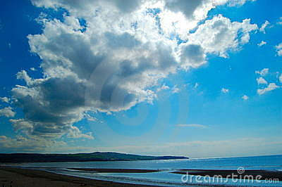 Ayr beach sea and clouds