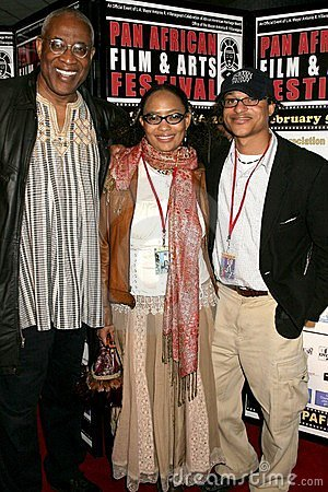 Ayuko Babu with Tamika Lamison and Clinton H. Wallace at the Pan African Film Festival Premiere of  Layla . Culver Plaza Theatre,  Editorial Stock Photo