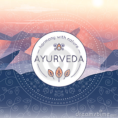 Free Ayurveda Illustration With Evening Mountain Landscape Stock Photography - 91329142