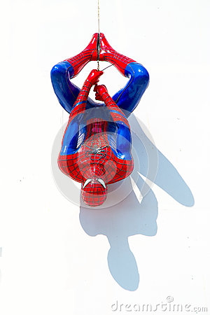 Free Ayuttaya, Thailand - December 30, 2014 : Spider-Man Model Upside Royalty Free Stock Photography - 60781767