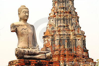 Ayutthaya buddha and temple, isolated