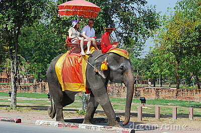 Ayutthaya, Thailand: Elephant Riding Editorial Image