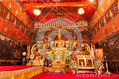 AYUTTHAYA,THAILAND-JUNE 27, 2013:Wat Phanan Choeng. Editorial Stock Photo