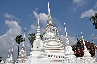 Ayutthaya, Thailand: White Chedis at Thai Temple