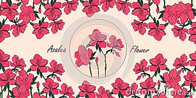 Azalea flower card with place for text Cartoon Illustration