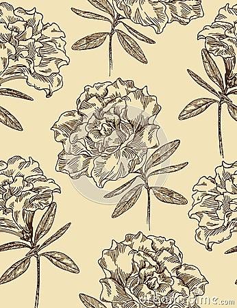 Azaleas. Seamless floral vector pattern.