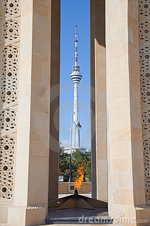 Azerbaijan, eternal flame and broadcasting tower