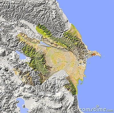 Azerbaijan, shaded relief map