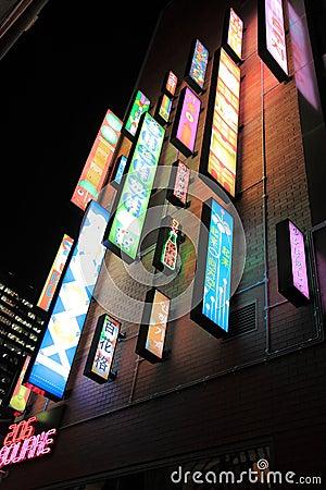 Aziatisch neon Redactionele Stock Foto