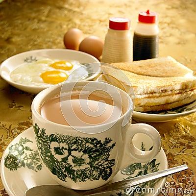 Azjata śniadanie