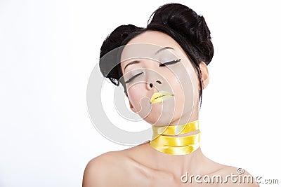 Azjatykci kreatywnie żeńscy makeup yellowl potomstwa