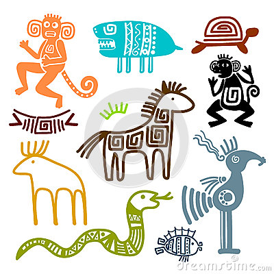 Free Aztec And Maya Ancient Animal Symbols Royalty Free Stock Photos - 91642338