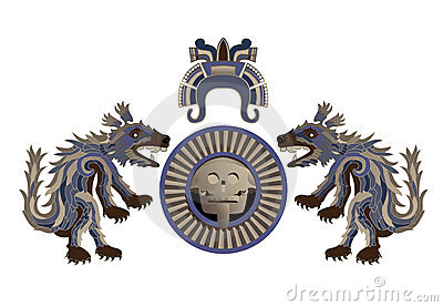 Aztec arms with feathery coyote