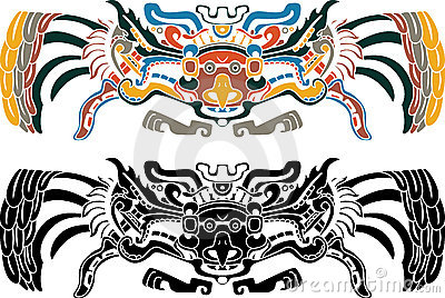Aztec bird stencil wn two variants