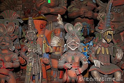 Aztec and  Mayan figurines statues clay Mexico
