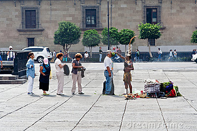 Aztec Ritual at Zocalo Ciudad de Mexico Editorial Photography