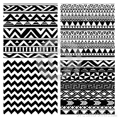 Free Aztec Tribal Seamless Black And White Pattern Set Royalty Free Stock Photography - 43875837