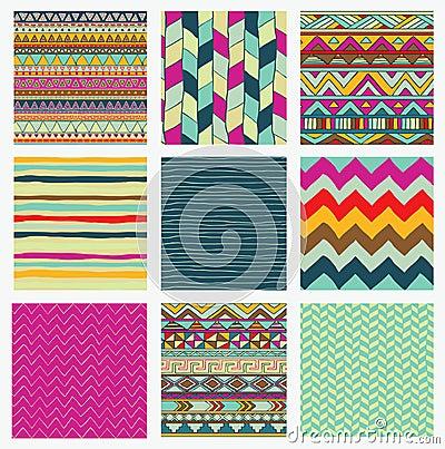 Free Aztec Tribal Seamless Colorful Pattern Set Stock Photos - 43876073