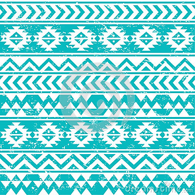 Aztec tribal seamless grunge white pattern on blue background