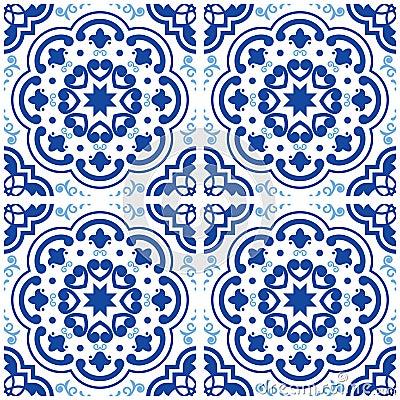 Free Azulejos Portuguese Tile Floor Pattern, Lisbon Seamless Indigo Blue Tiles, Vintage Geometric Ceramic Design, Spanish  Backgr Royalty Free Stock Images - 98357299