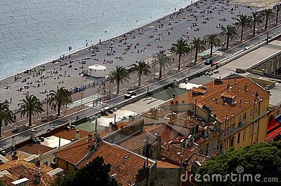 Azur coast beach, Nice, France