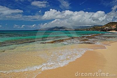 Azure clear water of a secluded beach on Grenada I